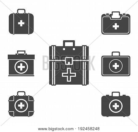 First aid kit icon set vector symbol in outline flat style isolated on white background.