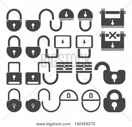 Lock icon set vector symbol in outline flat style isolated on white background.