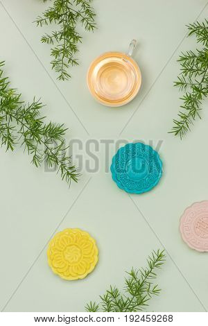 Chinese famous food. Mooncakes. Chinese pastries traditionally eaten during the Mid-Autumn Festival