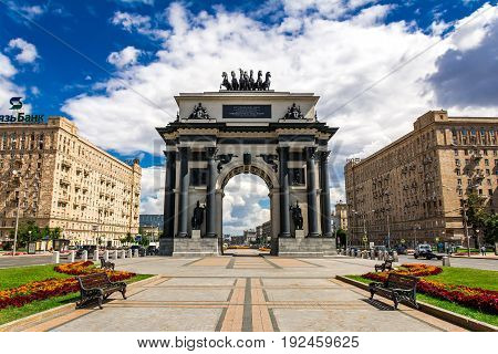 Russia, Moscow, Mary 30, 2017. Triumphal gate On Kutuzov Avenue