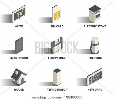 Isometric 3D web icon set - 4K TV sim card electric stove smartphone floppy disk thermos house refrigerator keyboard.