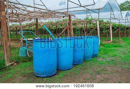 Chemical Plant Plastic Storage Drums Big Blue Barrels
