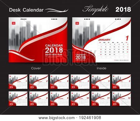Desk Calendar for 2018 Year Vector Design Print Template Red cover with Place for Photo Set of 12 Months