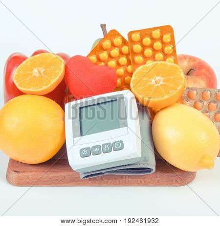 Blood Pressure Monitor, Fresh Fruits, Vegetables And Medical Pills, Healthy Lifestyle Concept
