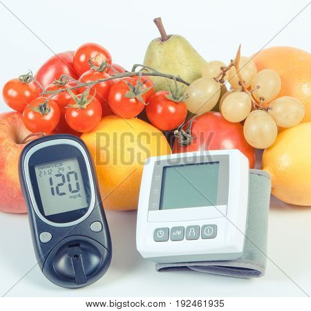 Vintage Photo, Glucose Meter, Blood Pressure Monitor And Fruits With Vegetables, Healthy Lifestyle C