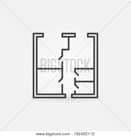 Whiteprint concept vector icon. House or apartment plan sign in thin line style