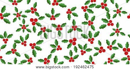 Christmas seamless with hollyberries on white background.