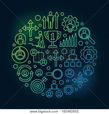 Career opportunities bright illustration - vector job concept outline sign on dark background