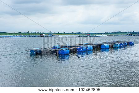 Fish farm with coop in long river Thailand