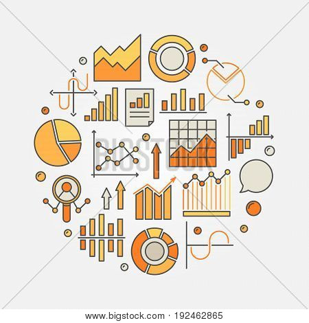 Statistics and data analysis colorful illustration - vector circular sign with graphs and diagrams
