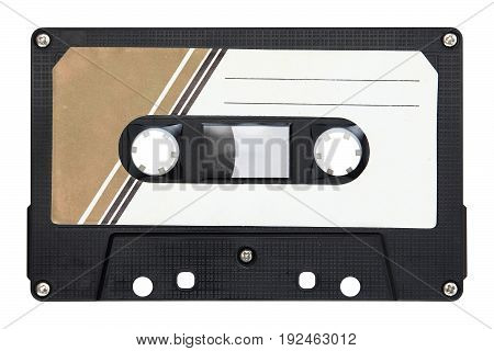 Image of black audio cassette isolated on background