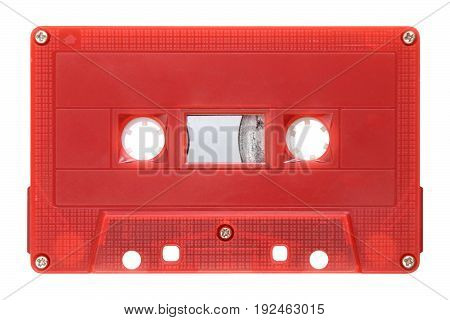 Image of red audio cassette isolated on background