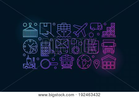 Vector logistics colorful illustration - creative banner made with transportation, delivery and logistic icons on dark background