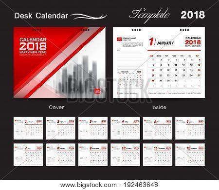 Set Desk Calendar 2018 template design red cover Set of 12 Months Week start Sunday