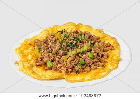 minced pork stuffed omelets on the dish