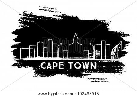 Cape Town Skyline Silhouette. Hand Drawn Sketch. Business Travel and Tourism Concept with Modern Architecture. Image for Presentation Banner Placard and Web Site.