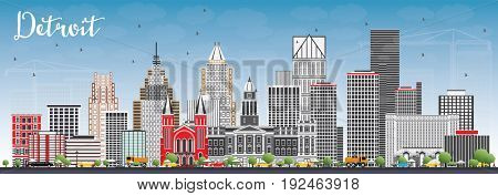 Detroit Skyline with Gray Buildings and Blue Sky. Business Travel and Tourism Concept with Modern Architecture. Image for Presentation Banner Placard and Web Site.