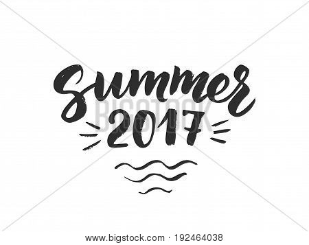 Summer 2017 text, hand drawn brush lettering. Summer label with calligraphic design elements, vector illustration. Great for party posters and banners.