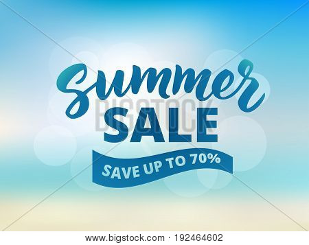 Summer sale banner design template. Brush lettering with typography. Save up to 70 percent text on waving banner. Abstract beach background, sky and sea bokeh.