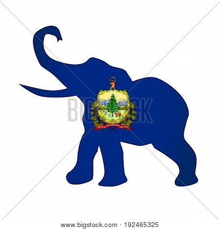 The Vermont Republican elephant flag over a white background