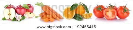 Fruits And Vegetables Apples Oranges Carrots Tomatoes Vegetable Food Isolated In A Row