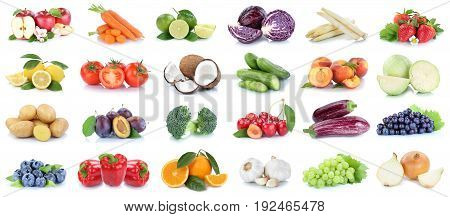 Fruits And Vegetables Collection Apples Oranges Grapes Vegetable Food Isolated