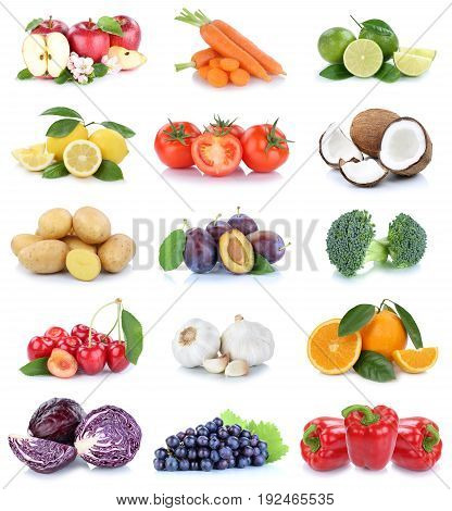 Fruits And Vegetables Collection Apples Oranges Tomatoes Grapes Vegetable Food Isolated