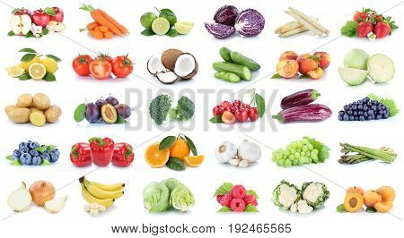 Fruits And Vegetables Collection Apples Oranges Grapes Bananas Vegetable Food Isolated