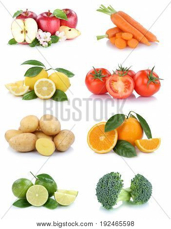 Fruits And Vegetables Collection Apples Oranges Tomatoes Broccoli Vegetable Food Isolated