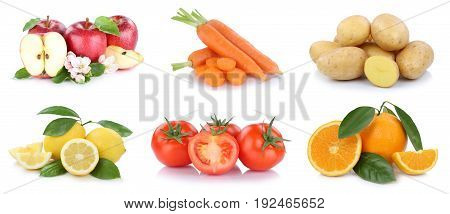 Fruits And Vegetables Collection Apples Oranges Vegetable Food Isolated