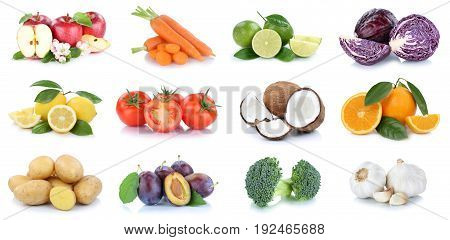 Fruits And Vegetables Collection Apples Oranges Coconut Vegetable Food Isolated
