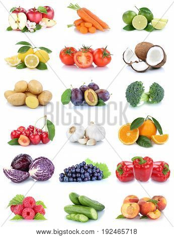 Fruits And Vegetables Collection Apples Oranges Tomatoes Berries Grapes Vegetable Food Isolated