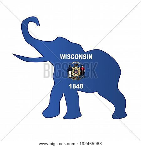 The Wisconsin Republican elephant flag over a white background