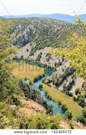 landscape with the river Krupa in Croatia