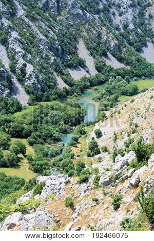 view on the canyon of the river Krupa, Croatia