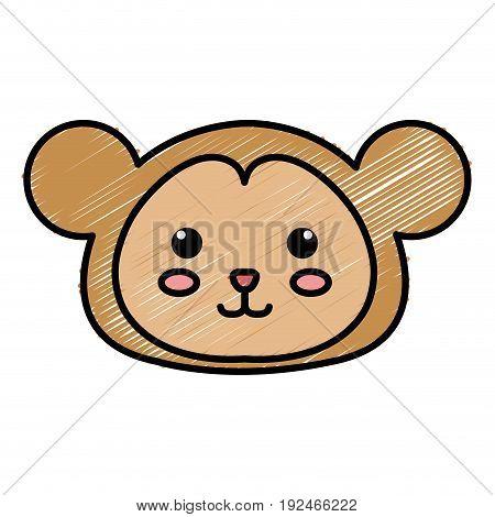 Stuffed animal monkey icon vector illsutration design doodle