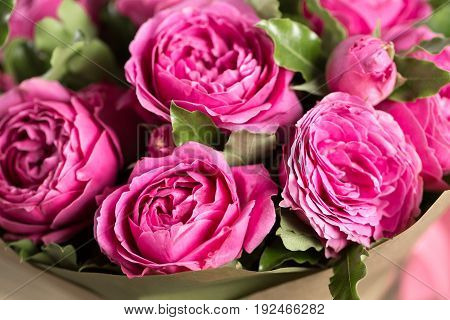 Pink peony roses in vase on wooden floor and bokeh background - retro styled photo. soft focus.
