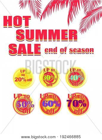 Collection labels with percent for hot summer sale