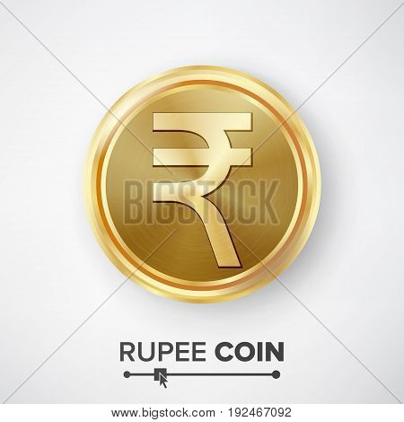 Rupee Gold Coin Vector. Realistic Money Sign