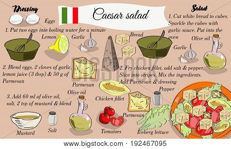 Step By Step Recipe Of Caesar Salad With Hand Drawn Ingredients. Italian Cuisine.