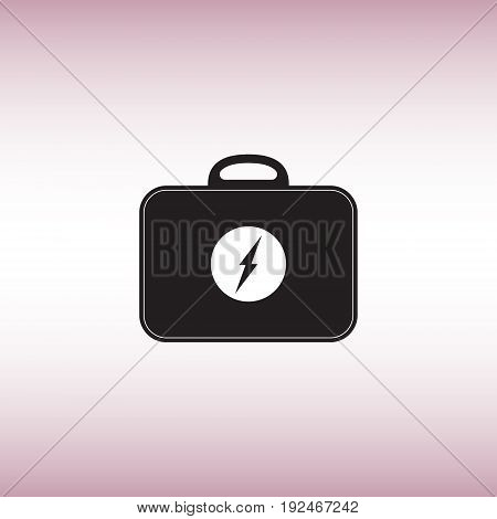 Electric toolbox flat vector sign. Electrician toolbox isolated vector icon. Recharger bag vector image.