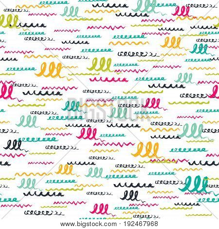 Vector colorful seamless pattern with brush strokes letter. Summer fantasy .Rainbow color on white background. Hand painted grange texture.Ink pastel elements. Fashion modern style Unusual postmodern