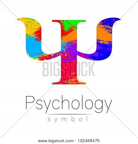 Modern Sign of Psychology. Psi. Creative style. Icon in vector. Design concept. Brand company. Rainbow brush strokes color letter on white background. Symbol for web, print, card, flyer