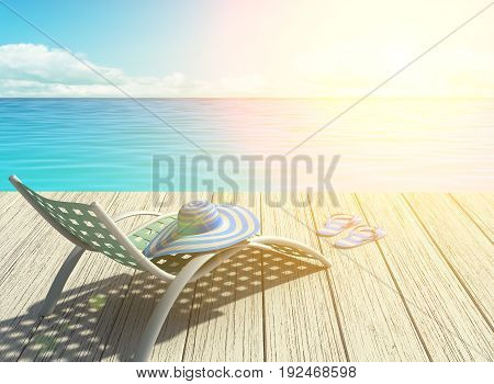 Summer holiday on the beach halo effect. 3D rendering