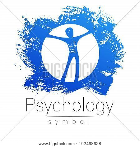 Modern man Sign of Psychology. Human in a circle. Creative style. Icon in vector. Design concept. Brand company. White color isolated on blue brush stroke background.Symbol for web, print card, flyer