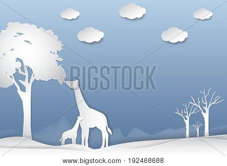 Giraffe's family in the desert abstract nature background paper art style illustration