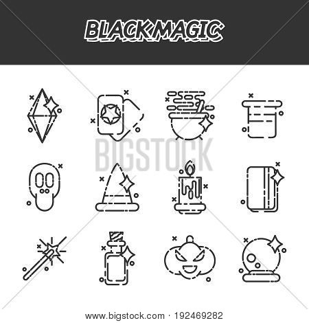 Black magic cartoon concept icons. Trendy Simple vector symbol. Vector illustration, EPS 10