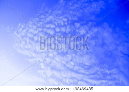 bright blue sky in the morning and cloudy