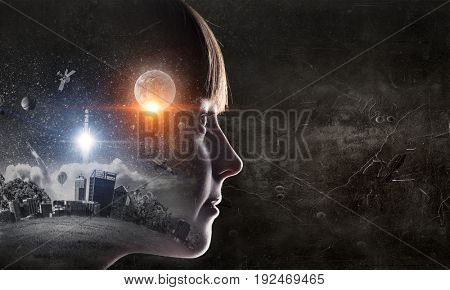Bright ideas in her head. Mixed media