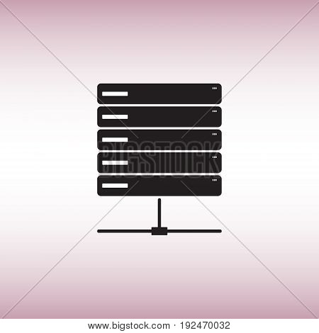 Server flat vector icon. Isolated server vector sign. Data center vector image. Big data vector illustration.